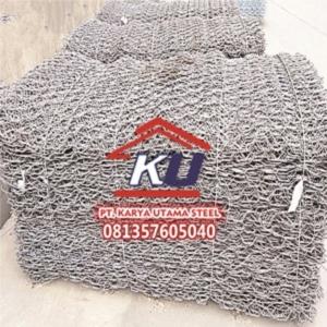 Kawat Bronjong Murah Ready Stock Produksi Mesin Galvanis Ukuran 1 Kubik Dan 2 Kubik